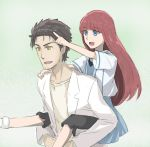 1boy 1girl :d bangs black_hair black_legwear blue_dress blue_eyes collarbone dress eyebrows_visible_through_hair hair_between_eyes index_finger_raised labcoat long_hair menomorute okabe_rintarou open_mouth pants pants_under_dress pink_background redhead shiina_kagari shiny shiny_hair shirt short_dress short_sleeves smile steins;gate steins;gate_0 straight_hair sundress very_long_hair white_background white_shirt yellow_eyes