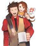 1boy 1girl :d absurdres ayasato_chihiro black_neckwear brown_eyes brown_hair brown_vest closed_eyes cup earrings facing_viewer gyakuten_saiban highres jewelry kaminogi_souryuu long_hair long_sleeves magatama mug necktie nnm1229 open_mouth pointing pointing_at_viewer red_shirt scarf shirt simple_background smile spiky_hair standing striped_vest vest white_background yellow_scarf