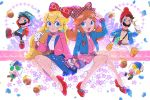 :d acorn belt blonde_hair blue_eyes bow brown_hair camera earrings facial_hair gloves hair_bow hat highres holding_hands jacket jewelry lips luigi mario mario_(series) mustache open_mouth orange_hair princess_daisy princess_peach red_footwear riomario shoes shorts smile star sweater toad white_shorts yellow_footwear