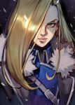 1girl amestris_military_uniform blonde_hair blue_eyes fullmetal_alchemist hair_over_one_eye highres lips long_hair olivier_mira_armstrong portrait solo uncle_rabbit_ii
