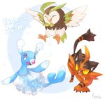 :d ^_^ aonik bird blue_eyes brionne claws closed_eyes commentary copyright_name creature dartrix english_commentary eyelashes flying full_body gen_7_pokemon highres no_humans open_mouth pokemon pokemon_(creature) signature simple_background smile starter_pokemon starter_pokemon_trio torracat white_background yellow_eyes
