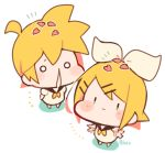/\/\/\ 1boy 1girl baby black_collar blonde_hair blush_stickers bow chibi collar expressionless hair_bow hair_ornament hairclip kagamine_len kagamine_rin kitsune_no_ko looking_at_viewer neckerchief nose_drip petals sailor_collar shirt short_hair short_ponytail solid_circle_eyes spiky_hair twitter_username vocaloid waving_arms white_bow white_shirt yellow_neckwear younger