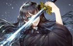 1boy ahoge black_hair blue_background blue_eyes blue_hair commentary electricity eyelashes gakuran gradient_hair haori highres japanese_clothes katana kimetsu_no_yaiba light_particles long_hair looking_at_viewer multicolored_hair mymero one_eye_covered open_mouth school_uniform simple_background solo sword tokitou_muichirou two-tone_hair uniform upper_body weapon