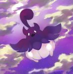 clouds cloudy_sky commentary creature english_commentary fangs full_body full_moon gen_6_pokemon looking_at_viewer moon night night_sky no_humans open_mouth pinkgermy pokemon pokemon_(creature) pumpkaboo purple_theme sky solo star_(sky) starry_sky