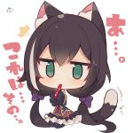 1girl @_@ animal_ear_fluff animal_ears bangs big_head black_hair black_legwear blue_sleeves bow cat_ears cat_girl cat_tail chibi commentary_request detached_sleeves eyebrows_visible_through_hair frilled_skirt frills full_body green_eyes grey_hair hair_between_eyes hair_bow highres karyl_(princess_connect!) long_hair long_sleeves low_twintails multicolored_hair muuran pantyhose princess_connect! purple_bow purple_skirt seiza signature simple_background sitting skirt sleeves_past_wrists solo streaked_hair tail translation_request twintails very_long_hair white_background wide_sleeves
