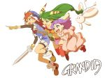 1boy 2girls :d :o blue_eyes copyright_name creature dress feena_(grandia) fingerless_gloves floating_hair friends full_body gloves grandia grandia_i green_eyes green_hair hair_ornament hat highres holding holding_sword holding_weapon index_finger_raised jumping justin_(grandia) kurishinbh long_hair low-tied_long_hair multiple_girls open_mouth outstretched_arm pink_dress purple_hair puui_(grandia) red_legwear redhead smile sue_(grandia) sword teeth thigh-highs torn_clothes torn_legwear violet_eyes weapon white_background