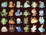 aodonguri bird black_eyes bulbasaur cat charmander chespin chikorita chimchar closed_eyes closed_mouth commentary_request cyndaquil fennekin fiery_tail fire flame froakie frown full_body gen_1_pokemon gen_2_pokemon gen_3_pokemon gen_4_pokemon gen_5_pokemon gen_6_pokemon gen_7_pokemon gen_8_pokemon grookey happy litten looking_at_viewer monkey mudkip piplup pokemon popplio rabbit red_eyes rowlet scorbunny signature sitting smile snivy sobble squirtle standing starter_pokemon starter_pokemon_trio tail tepig torchic totodile treecko turtwig yellow_eyes