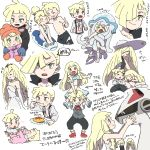 1boy 2girls baby black_pants black_vest blonde_hair blue_gloves blush braid brother_and_sister closed_eyes coat dress eating food from_side gen_7_pokemon gladio_(pokemon) gloves green_eyes hair_over_one_eye hat highres legendary_pokemon lillie_(pokemon) long_hair long_sleeves lusamine_(pokemon) male_swimwear mittens mother_and_daughter mother_and_son multiple_girls multiple_sources nihilego one-piece_swimsuit open_mouth orange_headwear pants plate pokemon pokemon_(anime) pokemon_(creature) pokemon_sm_(anime) shirt short_sleeves siblings silvally simple_background sketch sleeping sleeveless sleeveless_dress sun_hat swim_trunks swimsuit swimwear tears translation_request twin_braids ukata ultra_beast vest wedding_dress white_background white_dress white_headwear white_shirt white_swimsuit younger