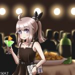 1girl ahoge bag bare_shoulders blush brown_dress cocktail cocktail_glass collarbone cup doritos dress drinking_glass evening_gown eyebrows_visible_through_hair flat_chest girls_frontline handbag high_ponytail highres lavender_hair looking_at_viewer m200_(girls_frontline) medium_hair mountain_dew serjatronic smile solo violet_eyes