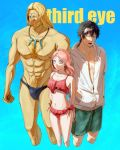 1girl 2boys abs beard bikini black_clover black_eyes black_hair blonde_hair blue_background blue_eyes breasts chest_hair collarbone commentary_request expressionless facial_hair facial_mark facial_tattoo fana_(elf)_(black_clover) forehead_mark highres jewelry male_swimwear medium_breasts medium_hair multiple_boys muscle navel necklace open_mouth pink_hair red_bikini red_eyes rhya_(black_clover) sharp_teeth swim_briefs swimsuit swimwear tattoo teeth teraba_(tttburst) vetto_(black_clover) white_hoodie