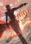 2boys absurdres black_gloves black_hair closed_eyes copyright_name cross from_behind glasses glint gloves gun highres holding holding_gun holding_weapon male_focus mouth_hold multiple_boys nicholas_d_wolfwood outdoors shell_casing signature standing trigun twilight vash_the_stampede weapon wind yotsuyu