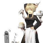 ahoge alternate_costume apron arknights black_sweater blonde_hair breasts cake coffee_mug countdown cup doctor_(arknights) enmaided food highres holding holding_phone large_breasts maid maid_apron mayer_(arknights) meeboo_(arknights) mug najashi phone sweater white_background