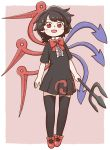 1girl :d arms_at_sides asymmetrical_wings black_dress black_hair black_legwear blush border bow bowtie dress eyebrows_visible_through_hair full_body holding houjuu_nue looking_at_viewer open_mouth pink_background pleated_dress polearm poronegi red_eyes red_footwear red_neckwear shoes short_dress short_hair short_sleeves simple_background smile solo thigh-highs touhou trident weapon white_border wings