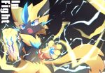 animal_ears blue_eyes cat_ears claws commentary_request electricity fangs furry gen_7_pokemon mythical_pokemon no_humans open_mouth pawpads paws pokemon pokemon_(creature) solo standing syuya tail teeth whiskers zeraora