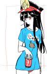 1girl bangs black_hair black_headwear blue_shirt blush breasts can drinking_straw family_crest fate/grand_order fate_(series) hat kodamari koha-ace long_hair looking_to_the_side medium_breasts mouth_hold oda_nobunaga_(fate) oda_nobunaga_(fate)_(all) oda_uri panties peaked_cap red_eyes red_panties shirt short_sleeves sidelocks simple_background soda_can t-shirt underwear white_background
