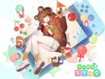 1girl ? absurdres animal_ears apple ass bird blush blush_stickers book brown_hair brown_hoodie cellphone cherry commentary dog doubutsu_no_mori food fruit fuuko_(doubutsu_no_mori) fuuta_(doubutsu_no_mori) gift highres holding hood hoodie johnny_(doubutsu_no_mori) korean_text looking_at_viewer mamekichi_(doubutsu_no_mori) medium_hair nani_(goodrich) nintendo_switch open_mouth orange_legwear original owl pear phone raccoon raccoon_ears shizue_(doubutsu_no_mori) shoes short_shorts shorts sleeves_past_wrists smile socks tanukichi_(doubutsu_no_mori) translation_request tree_print tsubukichi_(doubutsu_no_mori) turnip upper_teeth uri_(doubutsu_no_mori) white_footwear white_shorts yellow_eyes