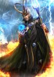 1boy absurdres cape clouds fire floating floating_object glowing green_cape helmet highres holding holding_scepter horned_headwear horned_helmet johnson_ting lightning loki_(marvel) marvel scepter solo storm tagme