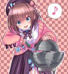 1girl beret blue_eyes blush bow bowtie brooch brown_hair cardigan center_frills checkered checkered_background commentary cowboy_shot demon_core eyebrows_visible_through_hair hair_ornament hat hat_pin heart jewelry leaning_forward medium_hair musical_note nijisanji open_mouth pink_cardigan screwdriver shirt skirt sleeves_past_wrists smile solo speech_bubble spoken_musical_note star striped striped_bow striped_skirt suzuhara_lulu tooi_aoiro vertical-striped_skirt vertical_stripes virtual_youtuber white_shirt x_hair_ornament