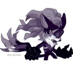 1boy angry animal_ears black_fur blue_eyes cropped_legs fang fur_collar furry half-closed_eyes highres infinite_(sonic) isa-415810 jackal_ears jackal_tail looking_at_viewer male_focus open_hands open_mouth scar scar_across_eye simple_background snout sonic_forces sonic_the_hedgehog standing white_background
