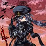 1girl aircraft airplane belt black_gloves black_scarf blackdeeno boat duel_monster gloves grey_hair hat_over_one_eye highres looking_at_viewer red_eyes scarf sky_striker_ace_-_roze uniform watercraft yuu-gi-ou