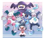 :d absurdres albrt-wlson black_eyes commentary creature english_commentary full_body galarian_and_normal galarian_form galarian_mr._mime gen_1_pokemon gen_4_pokemon gen_8_pokemon happy highres looking_at_viewer mime_jr. mr._mime mr._rime no_humans open_arms open_mouth pokemon pokemon_(creature) purple_background simple_background smile standing yellow_eyes