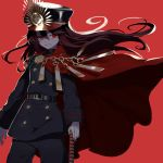 1girl bangs belt black_hair black_headwear black_jacket black_pants breasts buttons cape chain family_crest fate/grand_order fate_(series) gloves grin hat jacket katana kodamari koha-ace long_hair long_sleeves looking_at_viewer medallion oda_nobunaga_(fate) oda_nobunaga_(fate)_(all) oda_uri pants peaked_cap red_background red_cape red_eyes simple_background small_breasts smile sword weapon white_gloves wind wind_lift