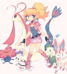 ._. 1girl :d ^_^ blonde_hair breasts breloom charamells closed_eyes closed_mouth commentary english_commentary foongus gen_1_pokemon gen_3_pokemon gen_5_pokemon gen_6_pokemon gen_7_pokemon long_hair mario_(series) milotic morelull open_mouth poke_ball poke_ball_(generic) pokemon ponytail princess_peach shoelaces simple_background small_breasts smile sylveon tied_hair vileplume walking white_background