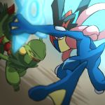 ash-greninja battle commentary_request creature eye_contact gen_3_pokemon gen_6_pokemon greninja holding looking_at_another mega_pokemon mega_sceptile no_humans pokemon pokemon_(anime) pokemon_(creature) pokemon_xy_(anime) sceptile shuriken ukata