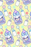 baby_bottle bottle candy closed_eyes commentary_request creature ekm facing_viewer food gen_2_pokemon highres lollipop no_humans pacifier pichu pokemon pokemon_(creature) polka_dot polka_dot_background ribbon sitting sleeping star yellow_background