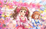 araki_hina blush brown_hair dress idolmaster_cinderella_girls_starlight_stage kamiya_nao long_hair red_eyes smile twintails