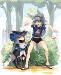 1other 3girls animal_ears arknights bare_legs blue_eyes blue_shirt boots cup disposable_cup doctor_(arknights) english_commentary flip-flops flower grani_(arknights) grey_hair hair_between_eyes hat hiding horse_ears horse_tail jakoujika lamppost long_hair looking_at_another multiple_girls open_mouth plant ponytail print_shirt red_eyes sandals shirt short_shorts shorts skadi_(arknights) t-shirt tail tree visor_cap warfarin_(arknights) younger