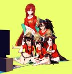 1boy 4girls bangs barefoot black_hair black_headwear blush breasts buster_shirt chibi closed_mouth collarbone controller crossed_legs famicom famicom_gamepad family_crest fate/grand_order fate_(series) game_console game_controller grey_shorts hair_between_eyes hair_over_one_eye hat indian_style kneeling kodamari koha-ace large_breasts long_hair medium_breasts multiple_girls multiple_persona navel nintendo oda_kippoushi_(fate) oda_nobunaga_(fate) oda_nobunaga_(fate)_(all) oda_nobunaga_(maou_avenger)_(fate) oda_nobunaga_(swimsuit_berserker)_(fate) oda_uri open_mouth peaked_cap playing_games pointing ponytail red_eyes red_shirt redhead shirt short_sleeves shorts sidelocks simple_background sitting smile t-shirt television tied_shirt yellow_background
