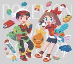 1boy 1girl :d aodonguri berry_(pokemon) bird black_legwear blue_eyes breasts commentary_request creature gen_3_pokemon gloves haruka_(pokemon) highres jumping long_sleeves medal mudkip open_mouth oran_berry pecha_berry persim_berry poke_ball poke_ball_(generic) pokeblock pokeblock_case pokedex pokemon pokemon_(creature) pokemon_(game) pokemon_rse pokenav rawst_berry shoes short_sleeves small_breasts smile socks starter_pokemon starter_pokemon_trio torchic treecko wailmer wailmer_pail yellow_eyes yuuki_(pokemon)