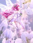 1girl absurdres alternate_hair_color ankle_flower anklet arm_up bangs been blurry blurry_background blurry_foreground butterfly_wings closed_mouth dress elesis_(elsword) elsword eyebrows_visible_through_hair fairy floating_hair flower flying from_side full_body hair_between_eyes hair_flower hair_ornament highres jewelry layered_dress long_hair pink_eyes pink_hair profile shiny shiny_hair short_dress sleeveless sleeveless_dress smile solo sparkle strapless strapless_dress thigh-highs transparent_wings very_long_hair white_dress white_flower white_legwear white_wings wings