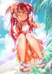 1girl adjusting_hair armband beach between_legs blurry blurry_background blurry_foreground blush cafe-chan_to_break_time cafe_(cafe-chan_to_break_time) camisole clouds cloudy_sky commentary_request earrings eyebrows_visible_through_hair flower hair_between_eyes hair_flower hair_ornament hair_over_shoulder hand_between_legs highres jewelry kneeling long_hair looking_at_viewer necklace open_clothes open_shirt orange_eyes original palm_leaf porurin redhead sandals skirt sky solo thigh_strap two_side_up wet white_camisole yellow_skirt