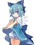 1girl back_bow bloomers blue_bow blue_dress blue_eyes blue_hair bow cirno dress dress_lift eyebrows_visible_through_hair hair_bow looking_at_viewer neck_ribbon open_mouth paragasu_(parags112) red_ribbon ribbon short_hair short_sleeves simple_background solo standing touhou underwear upper_teeth white_background
