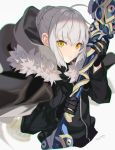 1girl ahoge bangs black_cape black_gloves black_jacket braid cape cloak commentary_request eyebrows_visible_through_hair fate_(series) fur_trim gloves gray_(lord_el-melloi_ii) grey_hair hair_between_eyes highres holding holding_weapon hood jacket long_sleeves looking_at_viewer lord_el-melloi_ii_case_files mocha_(mokaapolka) short_hair simple_background solo weapon white_background yellow_eyes