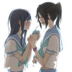backlighting bangs black_hair blue_hair blue_sailor_collar blue_skirt blush closed_eyes drinking_straw eyebrows_visible_through_hair hibike!_euphonium holding_hand juice_box kasaki_nozomi kitauji_high_school_uniform liz_to_aoi_tori long_hair looking_at_another neckerchief parted_lips red_eyes ree_(re-19) sailor_collar school_uniform serafuku shirt short_ponytail sidelocks simple_background skirt upper_body upper_teeth watch watch white_background white_shirt yoroizuka_mizore