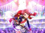 cape dress halberd isurugi_futaba pink_hair short_hair shoujo_kageki_revue_starlight violet_eyes