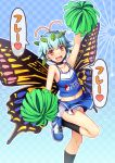 1girl :d alternate_costume antennae arm_up bangs bare_arms bare_shoulders black_legwear blue_background blue_footwear blue_hair blue_skirt blush butterfly_wings checkered checkered_background cheerleader chima_q commentary_request crop_top eternity_larva eyebrows_visible_through_hair feet_out_of_frame gradient gradient_background highres holding holding_pom_poms kneehighs leaf looking_at_viewer midriff miniskirt navel open_mouth orange_eyes pom_poms shoes short_hair skirt sleeveless smile sneakers solo speech_bubble thighs touhou translation_request wings