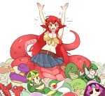 1girl :> :d \o/ arms_up belt breasts cassiopeia_du_couteau character_request commentary crossover ekans english_commentary fang gen_1_pokemon hair_ornament hairclip lamia large_breasts league_of_legends long_hair looking_at_viewer midriff monster_girl monster_musume_no_iru_nichijou multiple_crossover navel open_mouth outstretched_arms plaid plaid_skirt pleated_skirt pokemon pokemon_(creature) redhead rockman rockman_3 rtil scales simple_background skin_fang skirt smile snakeman solo trait_connection white_background yellow_eyes