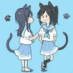 2girls animal_ears black_hair black_legwear blue_background blue_hair blue_sailor_collar blue_skirt cat_ears cat_paws cat_tail full_body hibike!_euphonium kasaki_nozomi kemonomimi_mode kitauji_high_school_uniform liz_to_aoi_tori multiple_girls neckerchief paws ree_(re-19) sailor_collar school_uniform serafuku shirt shoes simple_background skirt smile socks standing standing_on_one_leg tail uwabaki white_legwear white_shirt yoroizuka_mizore