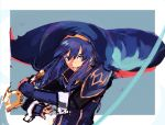 1girl blue_eyes blue_hair cape fire_emblem fire_emblem_awakening highres holding holding_sword holding_weapon looking_to_the_side looking_up lucina lucina_(fire_emblem) mpka_yt slashing solo sword weapon