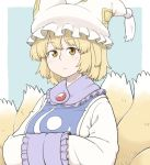 1girl animal_ears blonde_hair blue_background border brooch closed_mouth dress eyebrows_visible_through_hair fox_ears fox_tail hands_in_opposite_sleeves jewelry kitsune long_sleeves looking_at_viewer multiple_tails poronegi short_hair solo tabard tail touhou white_border white_dress yakumo_ran yellow_eyes