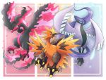 absurdres albrt-wlson bird bird_focus commentary creature english_commentary flying full_body galarian_articuno galarian_form galarian_moltres galarian_zapdos gen_8_pokemon highres legendary_pokemon looking_at_viewer no_humans pokemon pokemon_(creature)