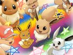:3 :d ^_^ alternate_color ayo_(ayosanri009) baseball_cap black_eyes brown_eyes closed_eyes commentary_request creature eevee gen_1_pokemon happy hat hatted_pokemon jumping looking_at_viewer no_humans open_mouth pentagram pokemon pokemon_(creature) rainbow_background shiny_and_normal shiny_pokemon smile star too_many