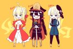 3girls ahoge aqua_eyes armored_boots bangs beret black_hair black_headwear black_jacket black_legwear black_pants blonde_hair blue_jacket blush boots braid breasts buttons cape chibi closed_eyes crossed_arms dress family_crest fang fate/extra fate/grand_order fate_(series) flower french_braid gloves green_eyes hair_bun hair_intakes hair_ribbon hands_on_hips hat height_chart jacket juliet_sleeves katana kodamari koha-ace long_hair long_sleeves lord_el-melloi_ii_case_files multiple_girls nero_claudius_(fate) nero_claudius_(fate)_(all) oda_nobunaga_(fate) oda_nobunaga_(fate)_(all) oda_uri open_mouth pants peaked_cap puffy_sleeves red_cape red_dress reines_el-melloi_archisorte ribbon rose simple_background smile sword tilted_headwear weapon white_flower white_rose yellow_background