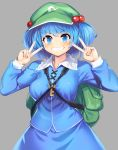 1girl backpack bag bangs blue_eyes blue_hair blue_skirt blush breasts cabbie_hat commentary_request double_v eyebrows_visible_through_hair frilled_shirt_collar frills green_headwear grey_background grin hair_bobbles hair_ornament hands_up hat highres kawashiro_nitori key looking_at_viewer medium_breasts partial_commentary shirt short_hair simple_background skirt skirt_set smile solo tarmo touhou upper_body v white_shirt