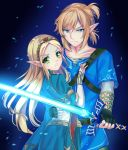 1boy 1girl absurdres bangs black_gloves blonde_hair blue_eyes blue_shirt breasts bridal_gauntlets clenched_teeth closed_mouth elf fingerless_gloves gloves glowing glowing_sword glowing_weapon green_eyes hair_between_eyes hand_on_another's_waist highres holding holding_sword holding_weapon link long_hair looking_at_viewer master_sword parted_bangs pointy_ears ponytail princess_zelda protecting serious shirt short_hair sword teeth the_legend_of_zelda the_legend_of_zelda:_breath_of_the_wild v-shaped_eyebrows weapon wrist_wrap yaya_chan