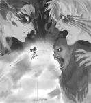 ape ascot beard beast_titan belt black_eyes black_hair blonde_hair blood blood_on_face cape claws clenched_teeth dual_wielding facial_hair facial_mark fingernails flying giant glowing glowing_eyes greyscale height_difference highres holding jacket jumping levi_(shingeki_no_kyojin) looking_at_another male_focus monkey monochrome multiple_boys muscle open_mouth paradis_military_uniform roaring screaming sharp_teeth shingeki_no_kyojin short_hair shouting smoke sword teeth thigh_strap three-dimensional_maneuver_gear undercut vvv020vvv weapon wire zeke_yeager